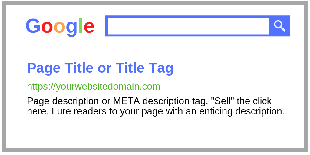 """Sell"" the click! Use an enticing description tag to encourage searchers to click on your page."