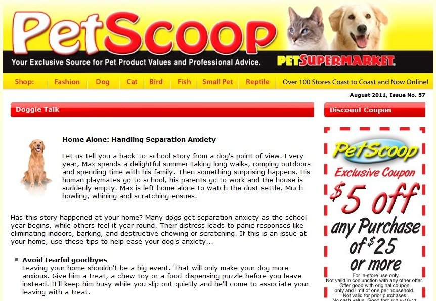 Pet store content writing